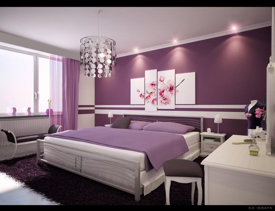 Interior Design of Bedroom Purpule