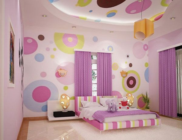 Teenage Girl Room Ideas with Colourfull Wall