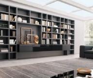 Book Storage Space Grey Wall Bookshelves Grey Sofas Grey Carpet