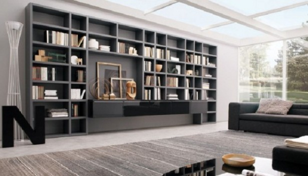 Book Storage Space Grey Wall Bookshelves Grey Sofas Grey Carpet