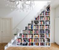 Book Storage Space White Under Stair Bookshelves Wooden Floor White Stairs White Door
