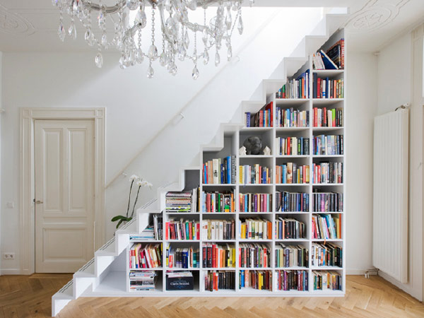 Book Storage Space White Under Stair Bookshelves Wooden Floor White Stairs White Door
