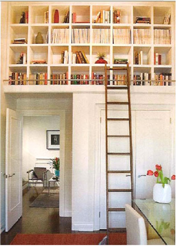 Book Storage Space White Wall Bookshelves Wooden Ladder Red Carpet White Door
