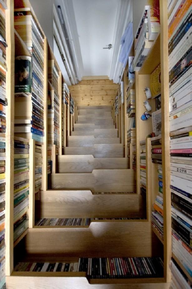 Book Storage Space Wooden Stair Bookshelves Wall Bookshelves