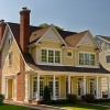 Cottage Plans Brown Chimney Cream Wooden Wall White Large Windows