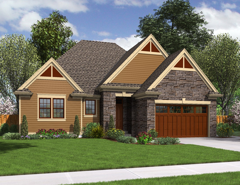 Cottage plans brown wooden garage stone wall small garden for Cottage home plans with garage