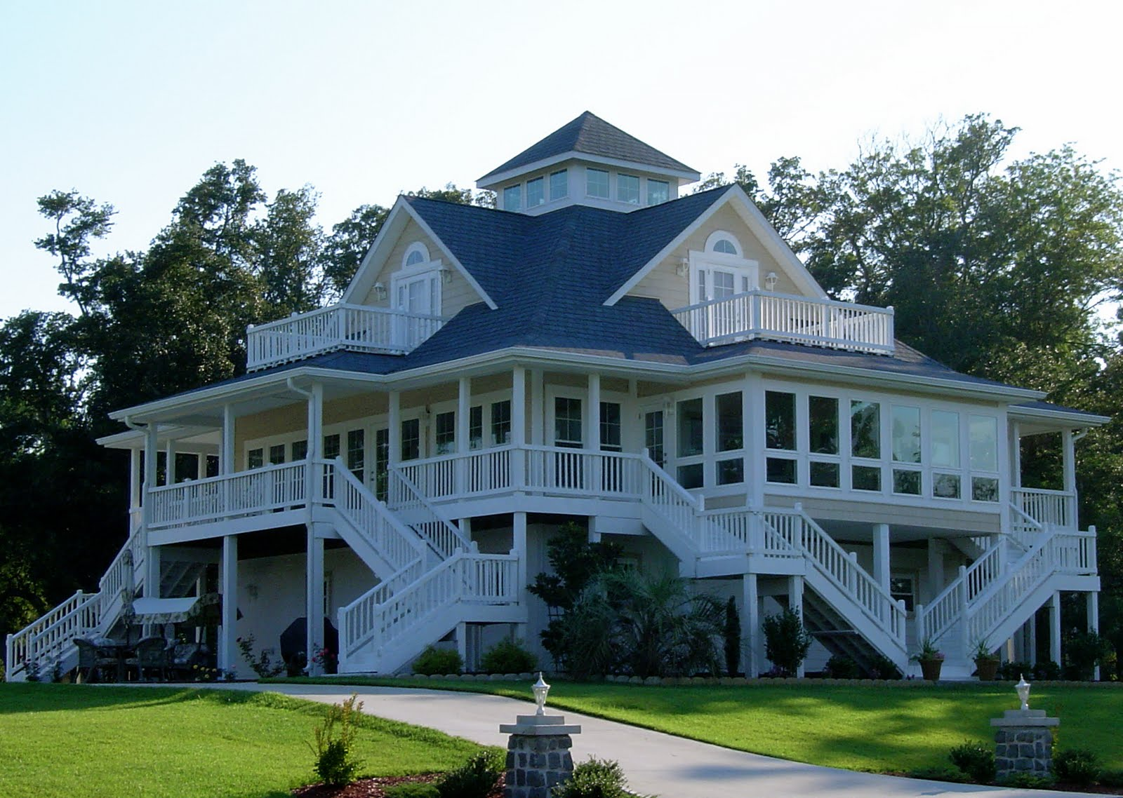 Cottage Plans White Balcony Fence White Stairs Dark Blue Rooof
