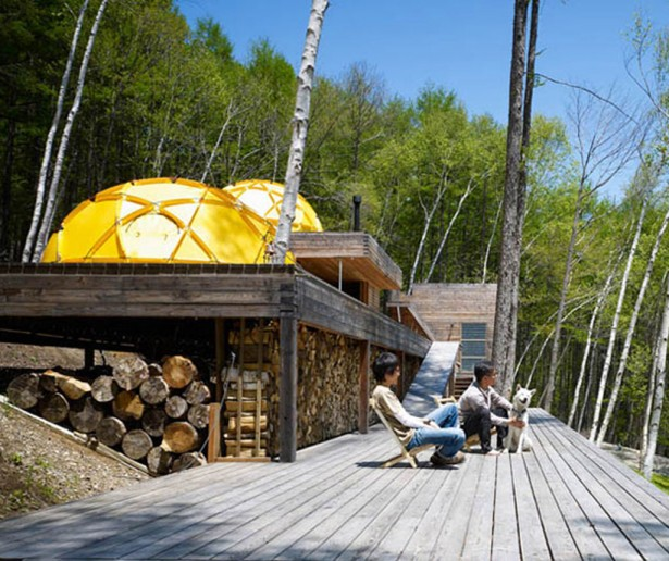 Cottage Plans Wooden Deck Yellow Dome Wooden Chairs