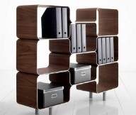 Modular Shelving Units Brown Wooden Hive Shelves