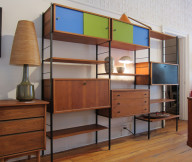 Modular Shelving Units Brown Wooden Shelves