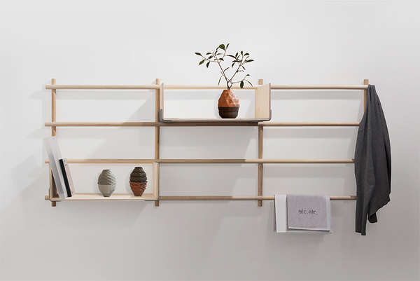 Modular Shelving Units Wooden Hanging Shelves