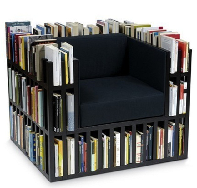 Simple Book Storage Space Black Sofa with Book Storage