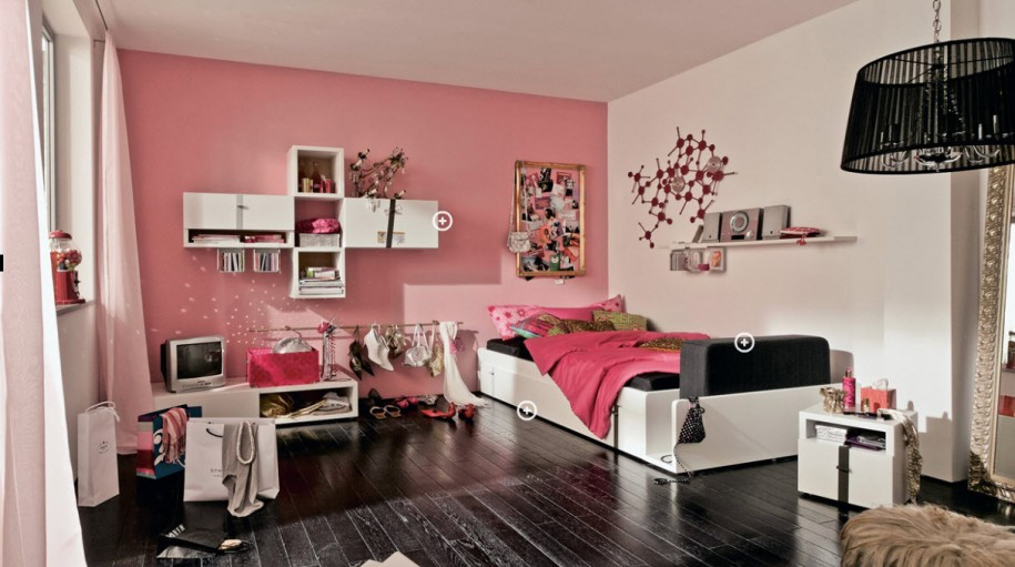Teenage Bedroom Ideas Black Wooden Floor White Bed Black Hanging Lamp White Television Cabinet