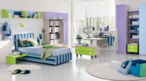Teenage Bedroom Ideas Blue Striped Bed Purple Cabinet Round White Carpet