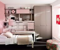 Teenage Bedroom Ideas Pink Wall Grey Cupboard White Bed Black Rug White Desk