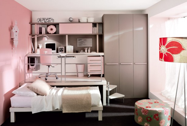 Teenage Bedroom Ideas Pink Wall Grey Cupboard White Bed Black Rug White Desk