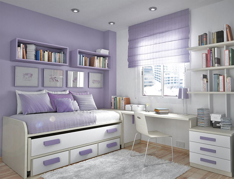 Teenage Bedroom Ideas Purple Curtain White Rug White Chair White Shelves
