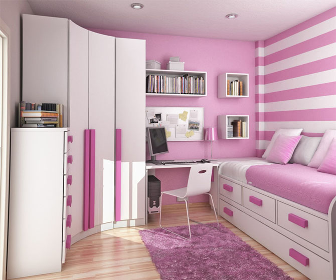 Teenage Bedroom Ideas Purple Striped Wallpaper White Purple Cupboard White Chair