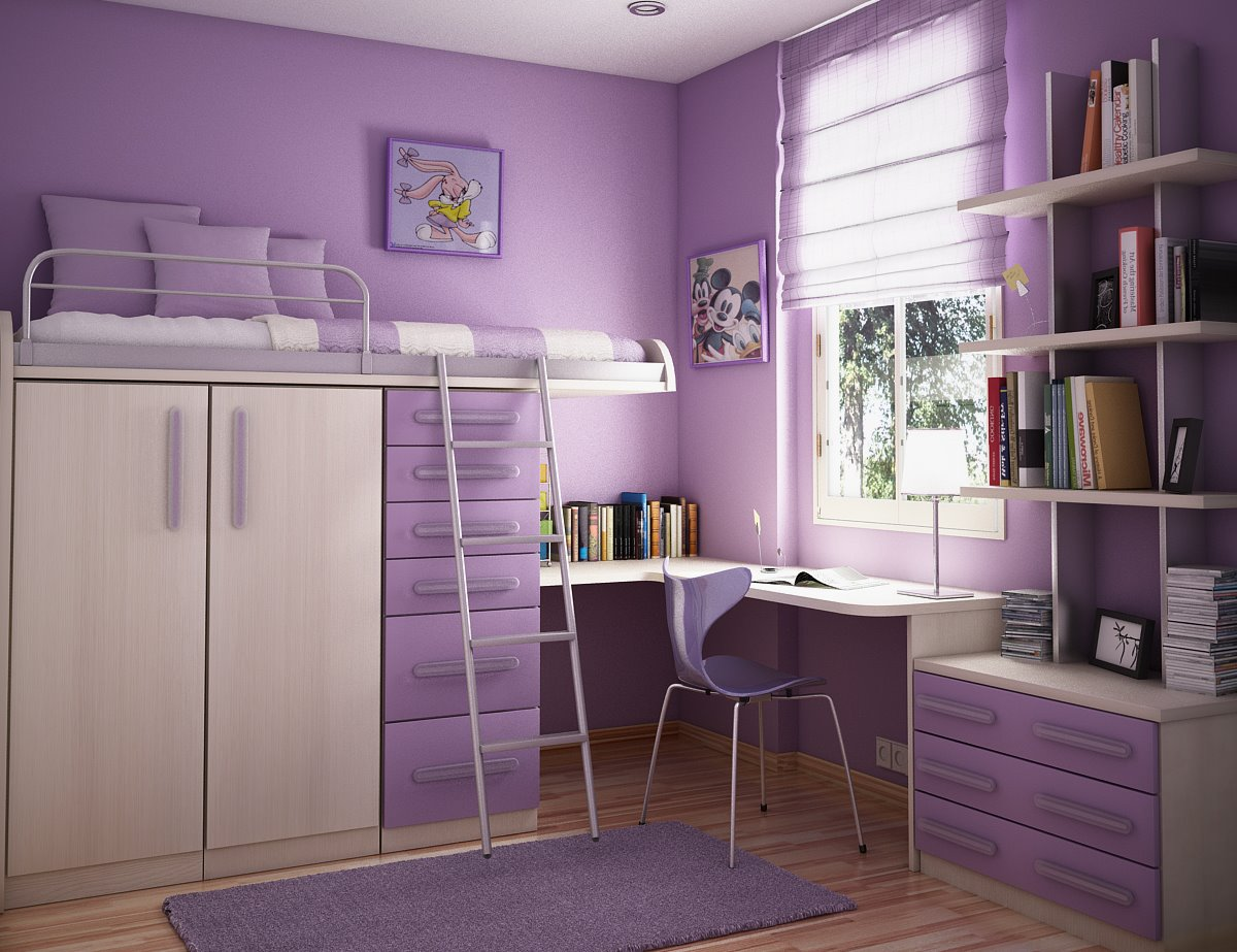 Teenage Bedroom Ideas Purple Wall Wooden Cabinet Purple Carpet