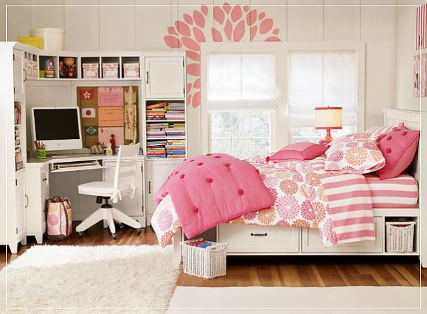 Teenage Bedroom Ideas White Bed White Rug White Desk And Cabinets White Window