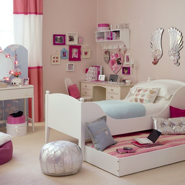 Teenage Bedroom Ideas White Bed Wings Wall Decoration White Vanity Table White Desk