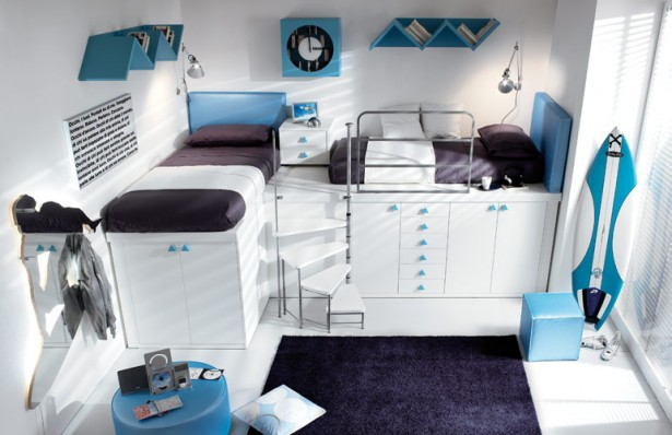 Teenage Bedroom Ideas White Wall White Cabinets Black Carpet Blue Leather Pouf