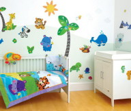 Toddler Room Ideas Animal Wallpaper White Bath Table White Baby Box