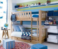 Toddler Room Ideas Blue Poufs Wooden Bunk Bed Dolphin Sticckers Striped Blue and Green Wallpaper