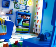 Toddler Room Ideas Blue Shelves Blue Chair Yellow Sitting Lamp Blue Wall Shelves