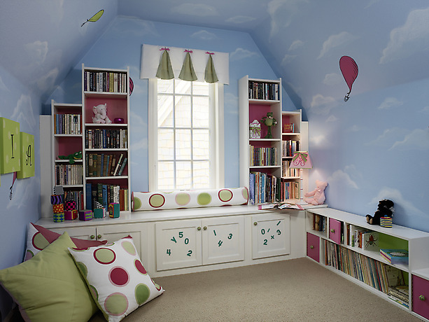 Toddler Room Ideas Blue Sky Wall White Cabinets Brown Carpet