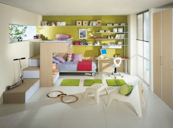 Toddler Room Ideas Green Wall Wooden Cupboard White Chair Large Window
