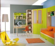 Toddler Room Ideas Orange Green Bench Green Wardrobe White Standing Lamp Yellow Chair Orange Carpet