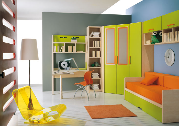 Toddler Room Ideas Orange Green Bench Green Wardrobe White Standing Lamp Yellow Chair Orange Carpet