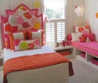 Toddler Room Ideas Pink Bench White Bed White Curtain Grey Carpet Floor