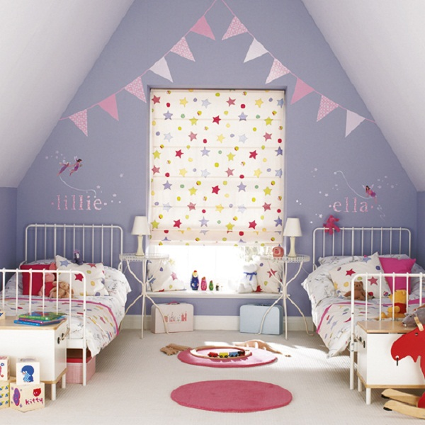 Toddler Room Ideas Purple Wall White Steel Bed Frame Pink Carpet