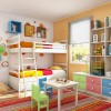 Toddler Room Ideas White Bunk Bed White Cabinets ColorfulDrawers