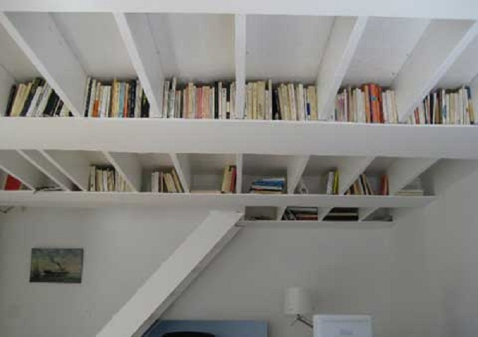 White Book Storage Space White Ceiling White Stairs White Lamp White Wall