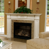 Amber Wall White Window Panes Cream Sofa White Coffee Table
