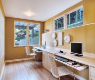 Amber Wall Wooden FLoor Pale Wooden Desk Rattan Chairs