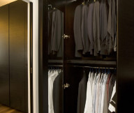 Apartment Closet Ideas Black Cupboard Large Mirror Black Floor Hidden Lamp