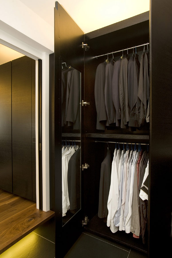 Apartment Closet Ideas Black Cupboard Large Mirror Black Floor Hidden Lamp