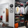 Apartment Closet Ideas Large Mirrow Orange Chair Steel Basket Grey Wall panel