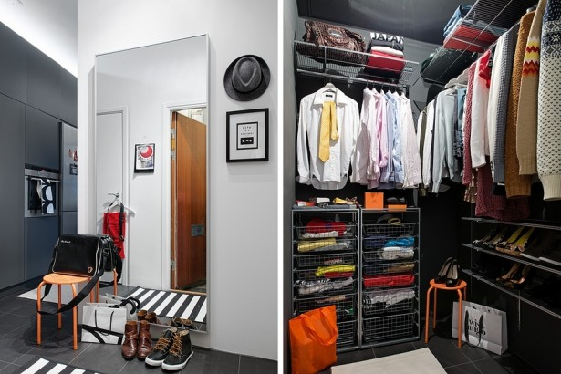 Apartment Closet Ideas Large Mirrow Orange Chair Steel Basket Grey Wall panel