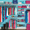 Apartment Closet Ideas Sea Green Wall Steel Sticks Pink Boxes