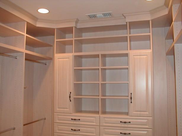 Apartment Closet Ideas White Cabinets White Shelves Hidden Lamps Steel Sticks