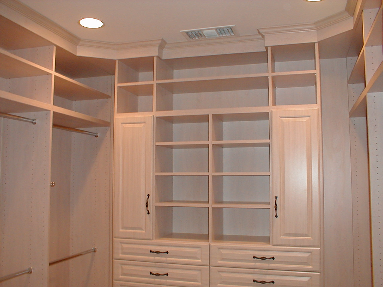Apartment Closet Ideas White Cabinets White Shelves Hidden Lamps Steel Sticks