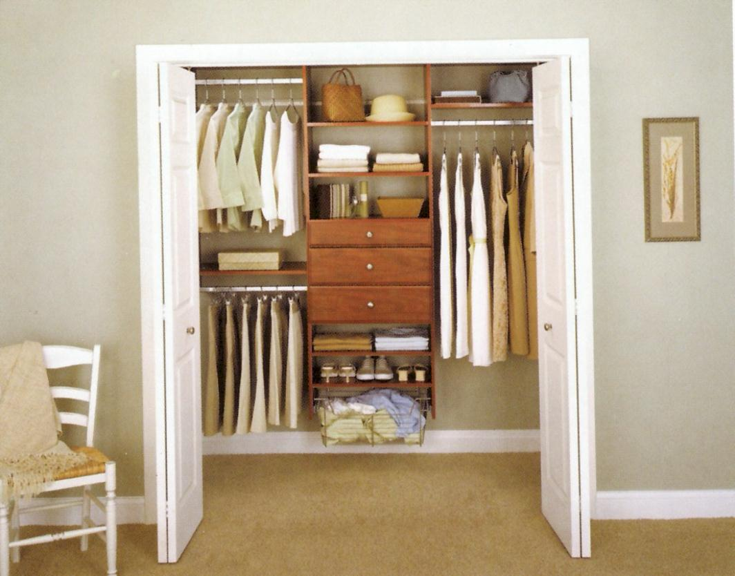 Apartment Closet Ideas White Doors Brown Wooden Cabinets Brown Carpet Floor White Chair