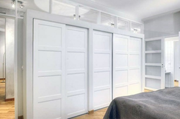 Apartment Closet Ideas White Folding Door Grey  Blanket Spotlights