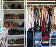 Apartment Closet Ideas White Shelves Cream Floor Brown Cabinet