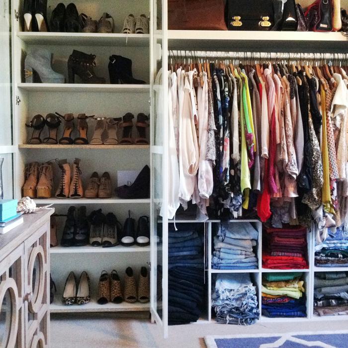 Apartment Closet Ideas White Shelves Cream Floor Brown Cabinet
